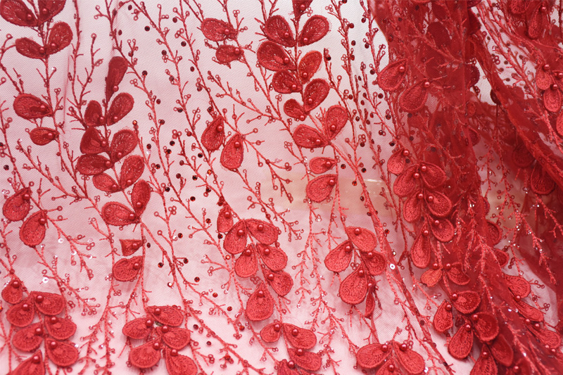 red beaded lace