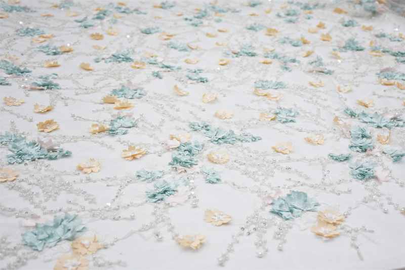 3d floral beaded lace fabrics