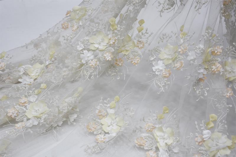 3d beaded lace fabric bridal lace