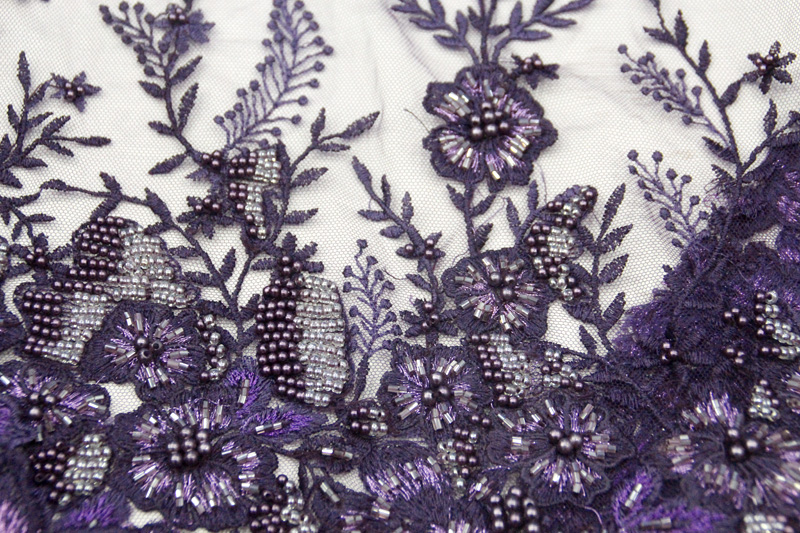 purple beaded lace fabric handwork lace