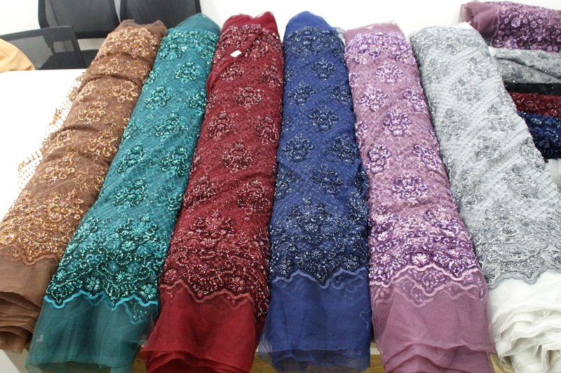 velvet beaded lace fabric handwork lace