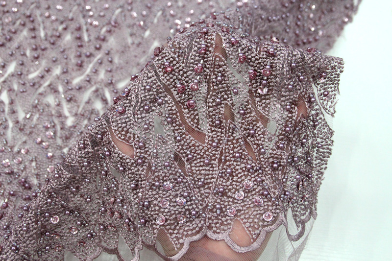 rose pink beaded lace fabric