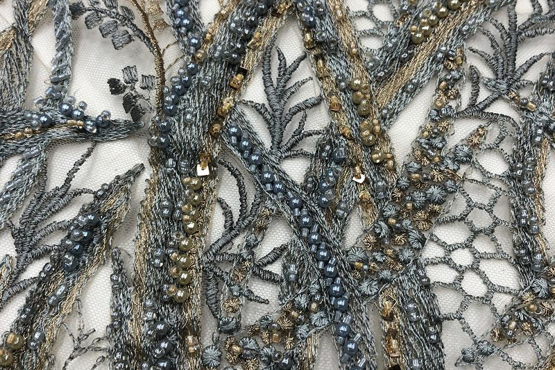 beaded 3d lace fabric champagne lace