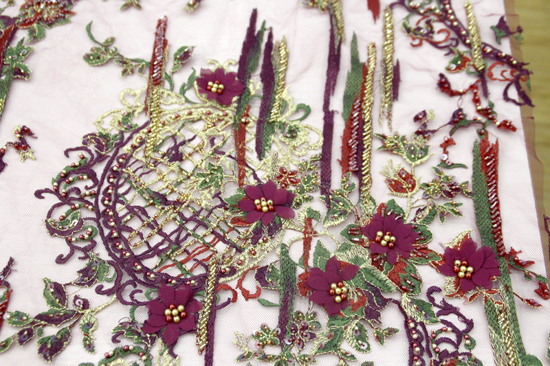 wine red 3d floral lace